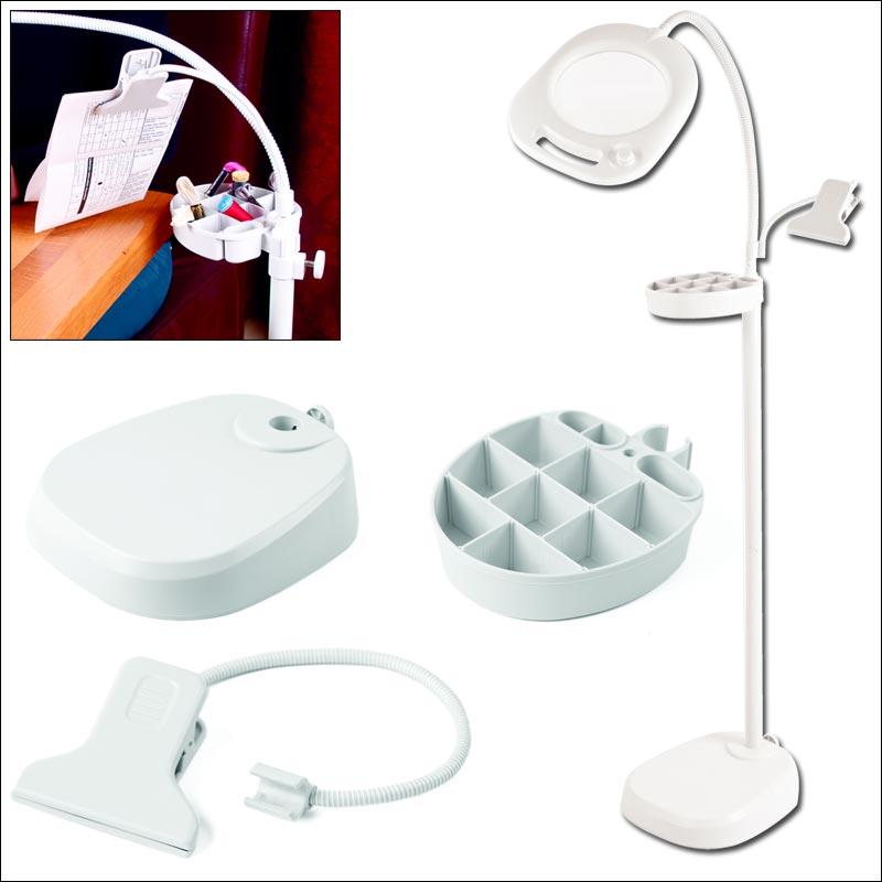 Lampe loupe sur pied de table 4 en 1 purelite gr cfpl14e for Lampe de bureau sur pied