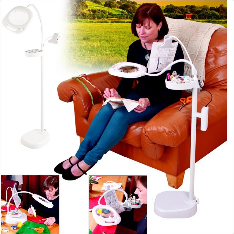 lampe loupe sur pied de table 4 en 1 purelite gr cfpl14e. Black Bedroom Furniture Sets. Home Design Ideas