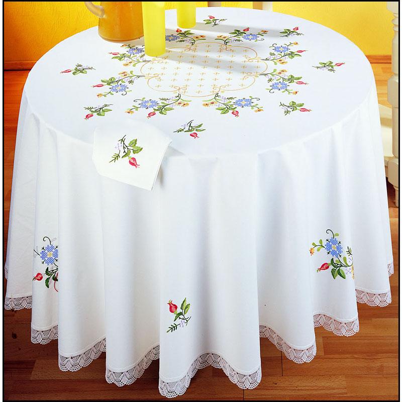 semis de fleur nappe ronde point de broderie margot 9072 broderies cie. Black Bedroom Furniture Sets. Home Design Ideas