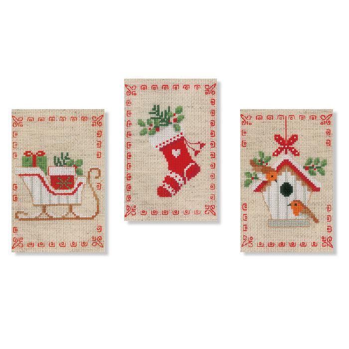 3 cartes à broder - Motifs de Noël - Kit point de croix - Vervaco - Broderies & Cie