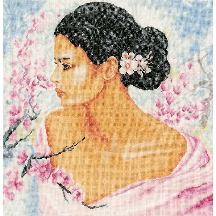 Broderie Point de Croix Femme et fleurs de cerisier Lanarte LA.0155690 - Broderies & Cie