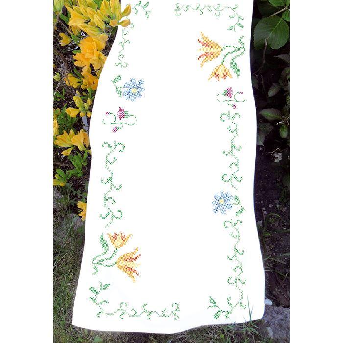 fleurs et points de croix chemin de table broder avila broderies cie. Black Bedroom Furniture Sets. Home Design Ideas
