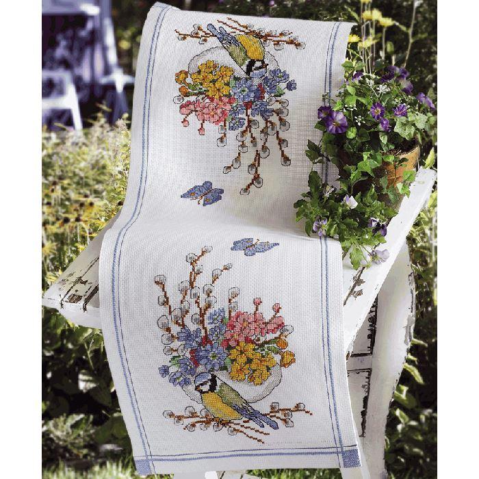 chemin de table m sanges et fleurs anchor sur broderies et compagnie. Black Bedroom Furniture Sets. Home Design Ideas