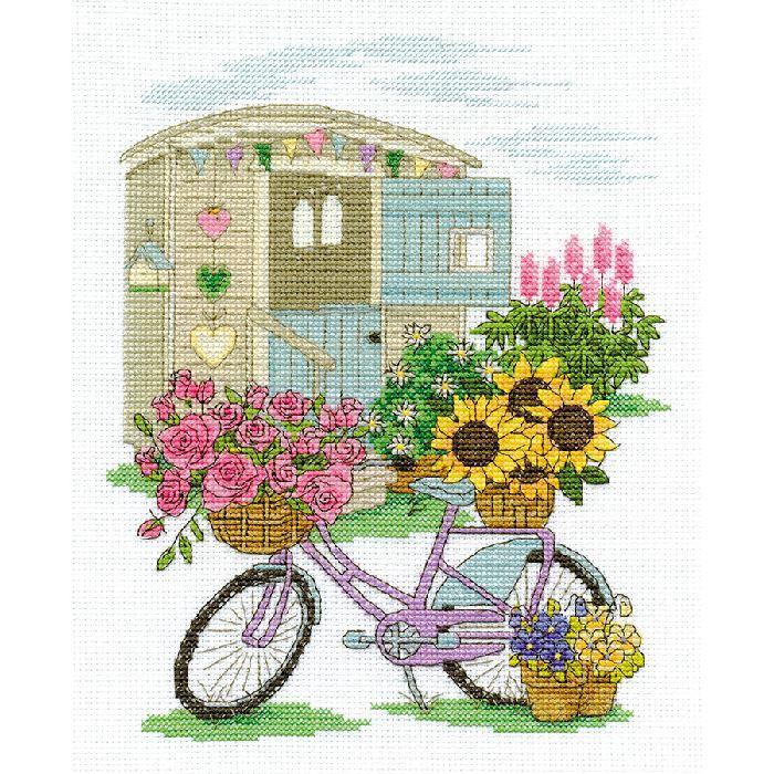 Kit Broderie Point de Croix - Bicyclette fleurie - DMC DM.BK1549 - Broderies & Cie