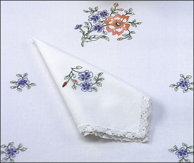 Lot de 3 serviettes imprimées bouquet rose et bleu à broder aux points de broderie traditionnelle