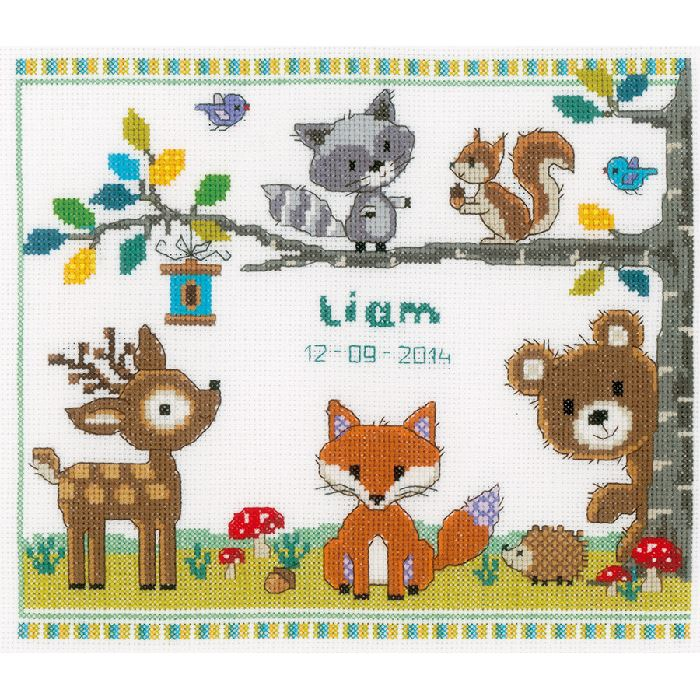 Broderie point de croix animaux de la for t i vervaco ve - Grille gratuite point de croix bavoir ...