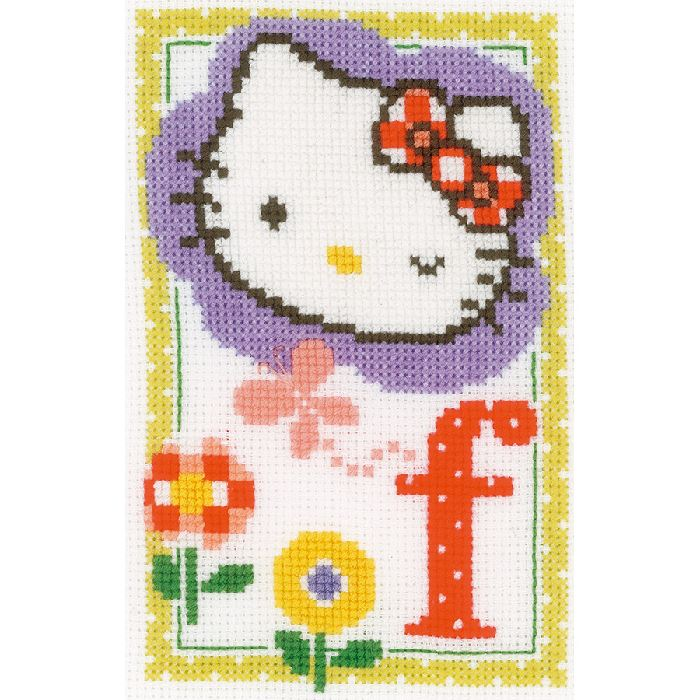 Hello Kitty lettre f kit Broderie Point de Croix Vervaco VE.0149528 - Broderies & Cie