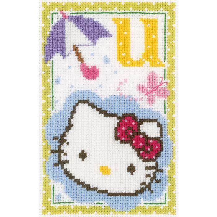 Hello kitty, lettre u kit Broderie Point de Croix Vervaco VE.0149583 - Broderies & Cie