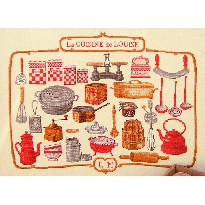 broderie point de croix la cuisine de louise luc cr ation broderies cie. Black Bedroom Furniture Sets. Home Design Ideas