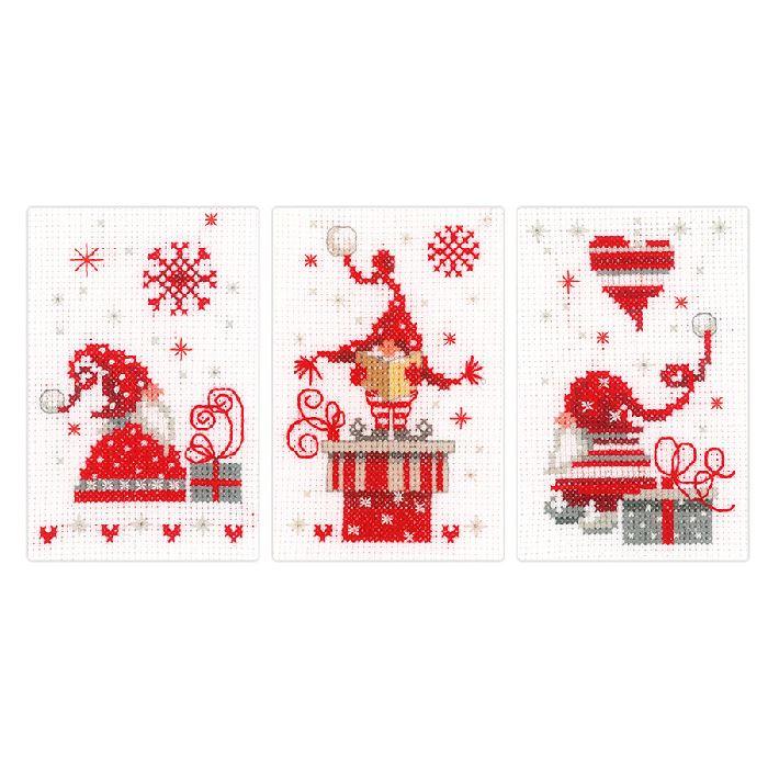 Carte à broder Lutins de Noël - Kit point de croix - Vervaco - Broderies & Cie