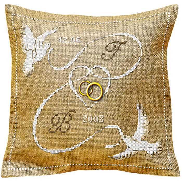 Coussin alliance point de croix les oiseaux de 4 points du monde broderies cie - Grille gratuite point de croix coussin de mariage ...