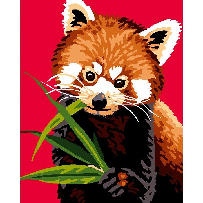 Kit canevas enfant toile petits trous panda roux luc cr ation broderies cie - Coloriage magique panda roux ...