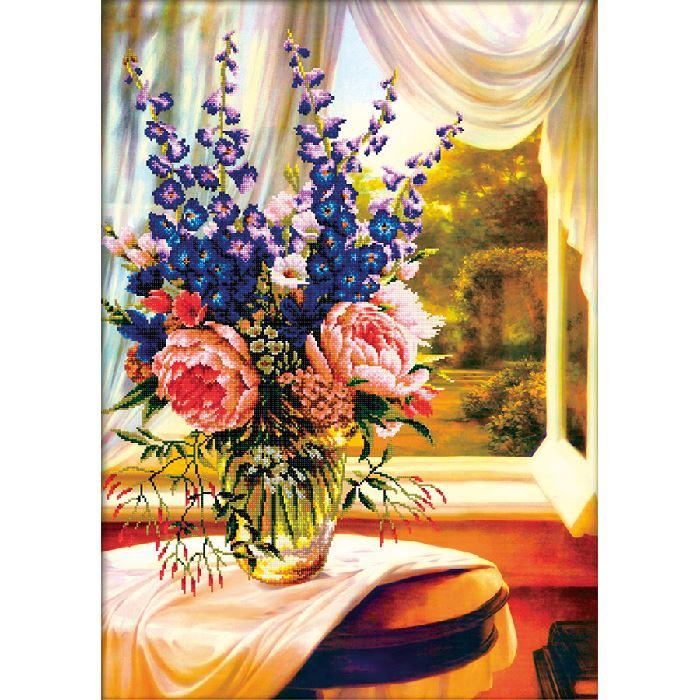 Kit point de croix imprim vase de fleurs devant la for Devant la fenetre