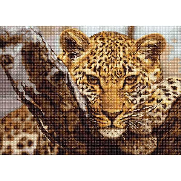 Point de croix coussin Stick Boîte Leopard 40x40 cm Vervaco pn-0144823